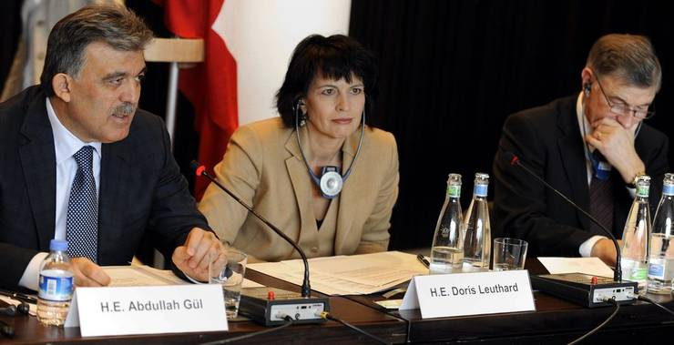 Abdullah Gül, Doris Leuthard und Gerold Bührer (Präsident Economiesuisse)