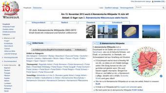 Die Startseite der alemannischen Wikipedia.
