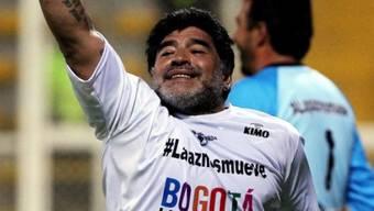 Diego Maradona nach dem Siegestor und vor dem Ausraster