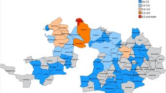 Die Karte zeigt für die Baselbieter Gemeinden die Anzahl Suchprofile pro angebotenes Wohneigentumsobjekt. Je höher der Wert, desto grösser ist die Nachfrage nach Eigenheimen im Vergleich zum Angebot. In roten oder orange eingefärbten Gemeinden verkaufen sich Immobilien schnell und in der Regel zu gutem Preis, in dunkelblau eingefärbten Gemeinden wird man ein Einfamilienhaus nur schlecht los.
