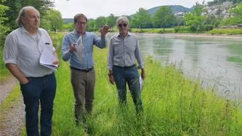 Die Co-Präsidenten Leo Keller und Peter Gloor mit Vorstandsmitglied Wilhelm Boner (von links) bei der Medienorientierung auf dem Mitteldamm.