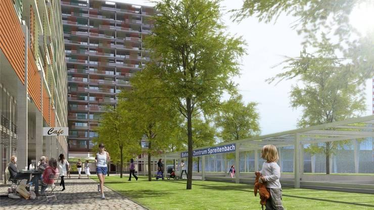 Direkt beim geplanten «Tivoli Garten» in Spreitenbach ist auch eine Haltestelle der Limmattalbahn vorgesehen, wie diese Visualisierung zeigt. ZVG