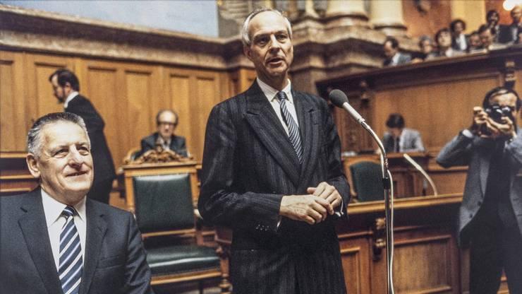Bundesrat Rudolf Friedrich bei seiner Wahl 1982.