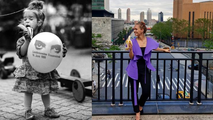 Anna-Lena Schluchter 1991: Mit fast zwei Jahren in Olten am Frauenstreik. 2019: Mit 29 Jahren an ihrem derzeitigen Wohnort New York.