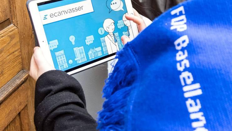 Mit modernster Software von Tür zu Tür: Die Baselbieter FDP betreibt im Vorfeld der Baselbieter Wahlen vom 31. März 2019 grossen Aufwand.