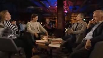 In der Literaturclub-Sendung von 22. April kam es zum Zwist zwischen Moderator Stefan Zweifel 2. v. l und Elke Heidenreich.jpg