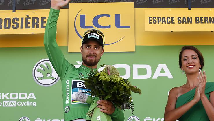 Weltmeister Peter Sagan trägt nicht nur das grüne Trikot des punktbesten Fahrers, er gewann an der Tour de France zum dritten Mal in diesem Jahr eine Etappe