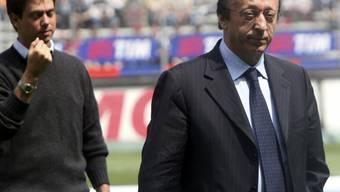 Juventus Turins Generaldirektor Luciano Moggi (rechts) am 7. Mai 2006 anlässlich der Partie Juventus - Palermo