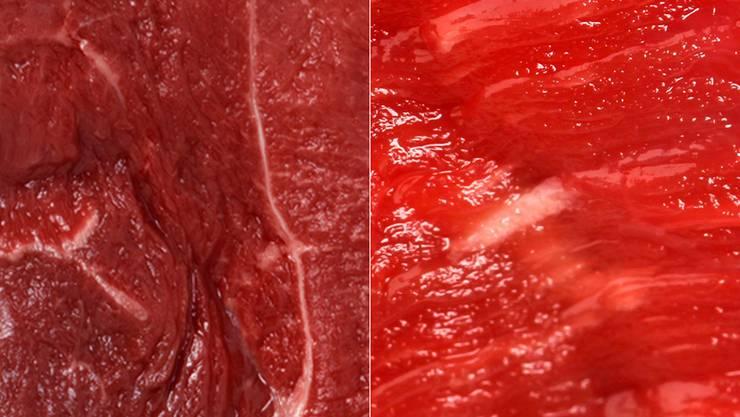Pferdefleisch (links) und Rindfleisch