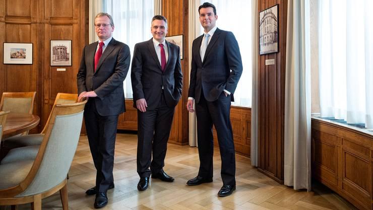 Die Leitungscrew in Basel: Andreas Knörzer, Asset Management, Goran Radin, Niederlassungsleiter, Aris Prepoudis, Institutionelle. Roland Schmid