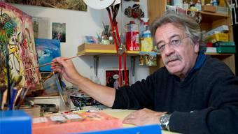 Peter Ackermann, «verkannter Kunstmaler», in seinem Atelier in Solothurn.