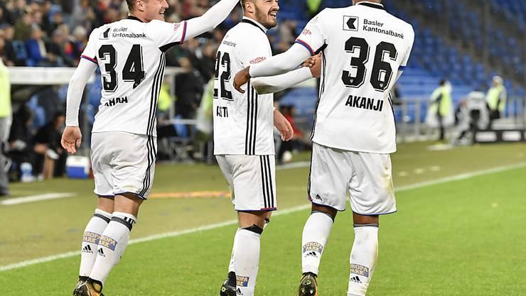 Traf auch im zweiten Super-League-Spiel für den FC Basel: Albian Ajeti (Mitte)