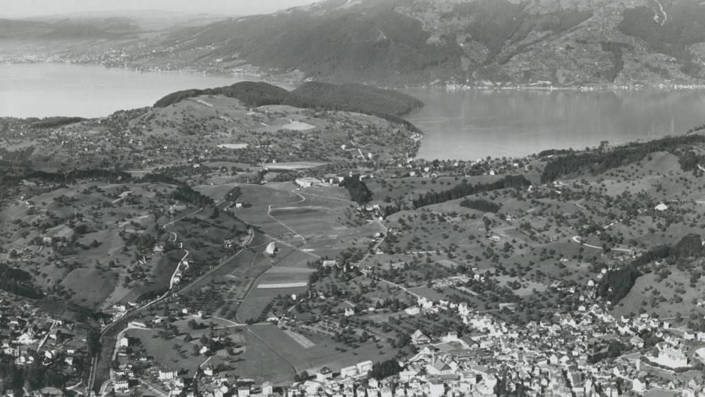 Eine Flugaufnahme zeigt Immensee bei Küssnacht, wo möglicherweise Reste einer Pfahlbausiedlung zu Tage gefördert wurden.