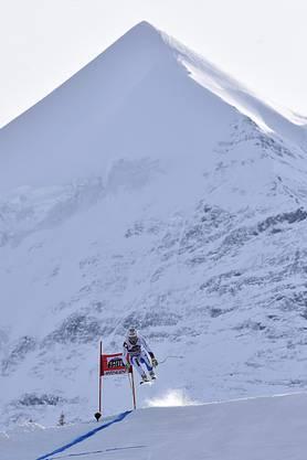 Lauberhorn 2015: Carlo Janka am Silberhorn-Sprung.