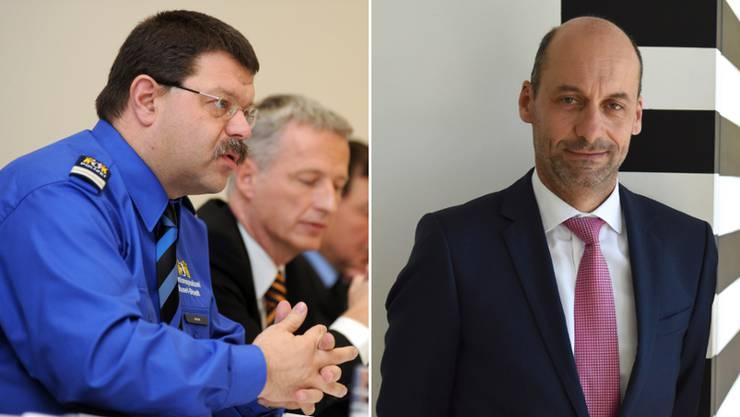 Die Nummer 2 und die zumindest vorübergehend neue Nummer 1 der Basler Polizei: Rolf Meyer (l.) und Martin Roth (r.)