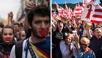 Konsternation hier, Jubel dort – nach Abstimmungen zur Zugehörigkeit könnten die Bilder aus Barcelona und Moutier unterschiedlicher nicht sein.