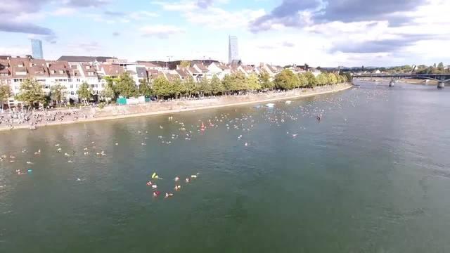 Rheinschwimmen 2018 aus luftiger Höhe