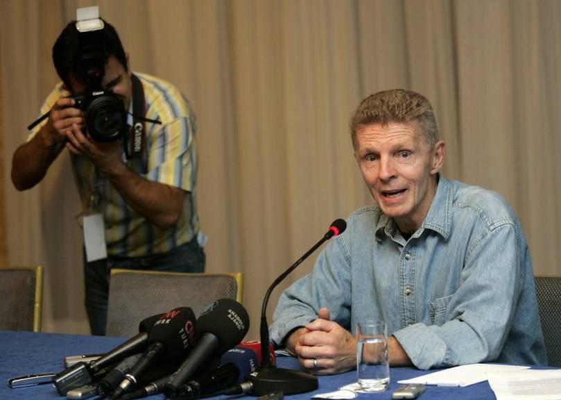 Billy Hayes an einer Pressekonferenz in Istanbul 2007. (AP Photo/Murad Sezer)