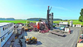 Ab 2020 wird gebohrt in der Region Jura Ost: So präsentiert sich der Bohrplatz in Trüllikon im Kanton Zürich.