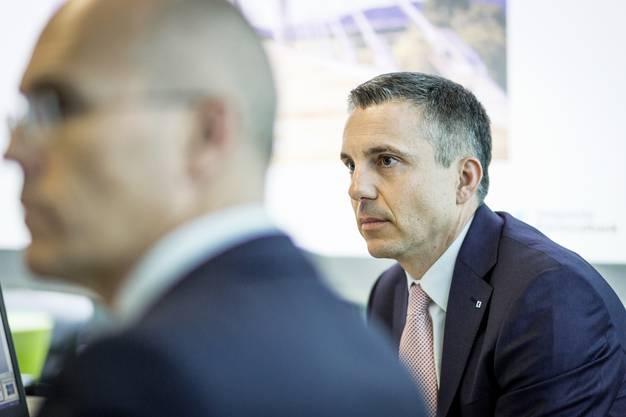 Bilanzpressekonferenz der Aargauischen Kantonalbank AKB in der Filiale in Aarau an der Bahnhofstrasse. Im Bild: AKB-CEO Pascal Koradi. Aufgenommen am 21. Februar 2017.