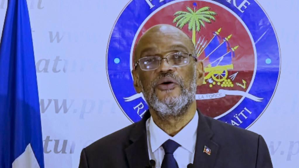 Ariel Henry, Premierminister von Haiti, spricht per Videobotschaft bei der 76. Sitzung der UN-Generalversammlung am Hauptsitz der Vereinten Nationen.