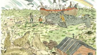 """Die Grafik """"Der Tod des Leviatans"""" von EM Hagner ist bis 23. Dezember 2017 im Musée Visionnaire in Zürich zu sehen."""