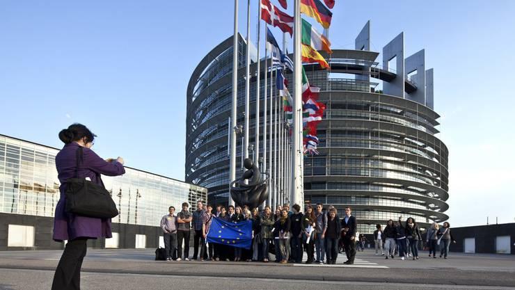 Symbolbild: Eine asiatische Touristengruppe vor dem EU-Parlament in Strassburg.