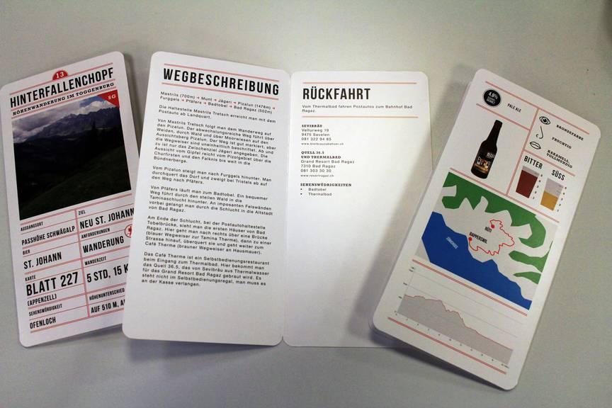 Eine Wegbeschreibung, ein Höhenprofil, eine Beschriebung des Bieres und weiter hilfreiche Infos stehen auf de Bierkärtchen. (Bild: FM1Today/Fabienne Engbers)