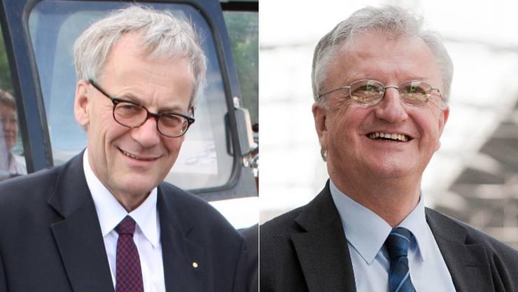 Kurt Fluri (links) will seinen Sitz verteidigen. Die Chancen dazu stehen jedoch schlecht, denn die SVP unterstützt dessen Kandidatur nicht. Sie will Rolf Büttiker im Ständerat.