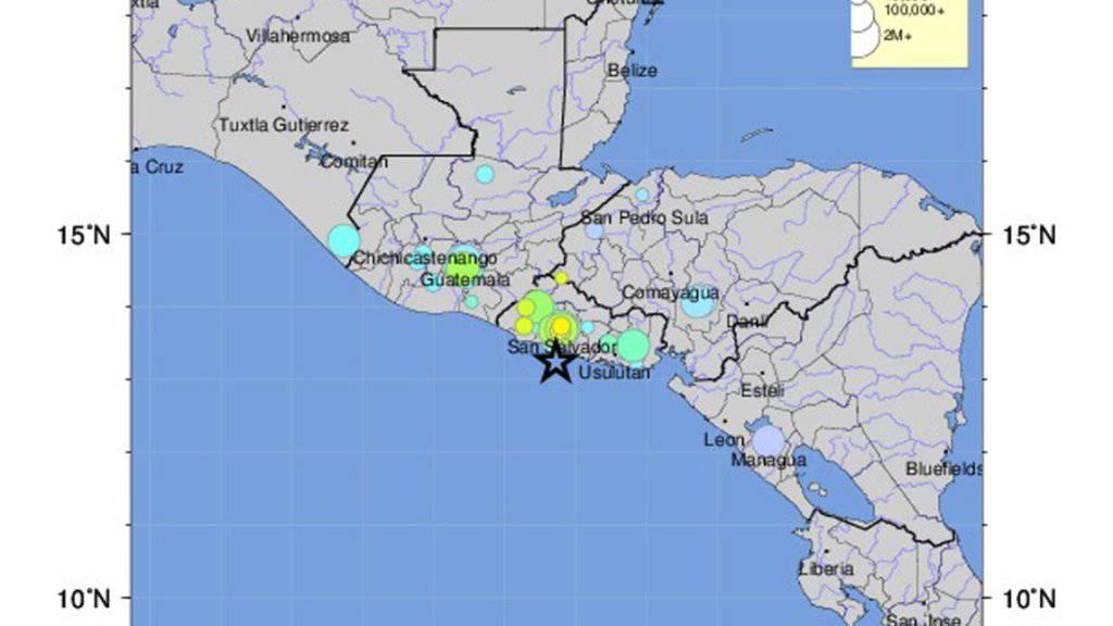 Das Erdbeben vor El Salvadors Pazifikküste war nach Angaben der Behörden im ganzen Land sowie in weiteren Teilen Zentralamerikas zu spüren. Berichte über Opfer oder grössere Schäden gab es zunächst keine.