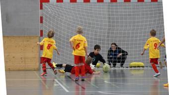 Der Goalie der Mutscheller F-Junioren hält den Ball. Dennoch setzte es gegen Uitikon eine unglückliche 0:1-Niederlage ab.