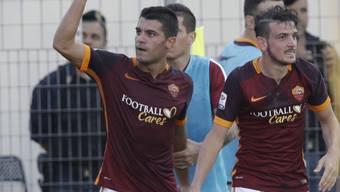 Iago Falque (links) bejubelt seinen Treffer in Frosinone