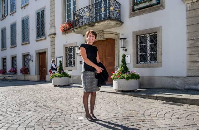 Jolanda Urech nach der Wahl als Stadtpräsidentin von Aarau vor vier Jahren.