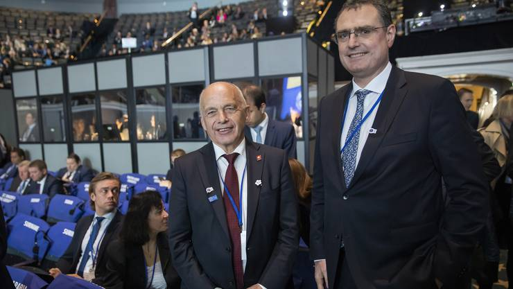 Ueli Maurer und Nationalbankpräsident Thomas Jordan am IWF-Treffen in Washington.
