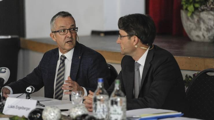 Die beiden Gesundheitsdirektoren der beiden Basel stellen die Spitalstrategie vor.