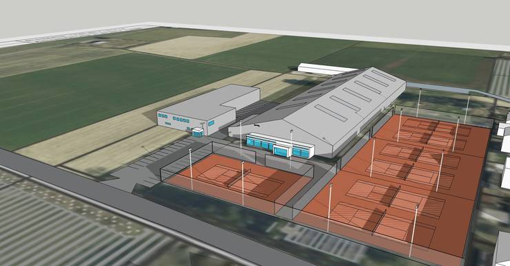 Das Projekt sieht eine 3-Rink-Curlinghalle vor (Gebäude links), die neben die bestehende Tennnishalle Derendingen (rechts) zu stehen käme.