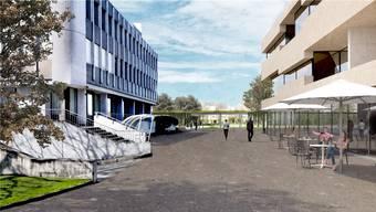 Ein Café, Gewerbefläche und eine Tiefgarage statt Parkplätze neben dem Gemeindehaus: Eine Visualisierung zeigt, wie das Zentrum von Möhlin einst aussehen könnte.