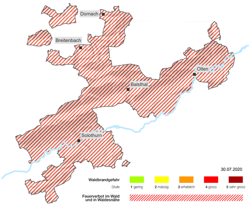 Im ganzen Kanton Solothurn herrscht Ende Juli 2020 Waldbrandgefahr Stufe 4.