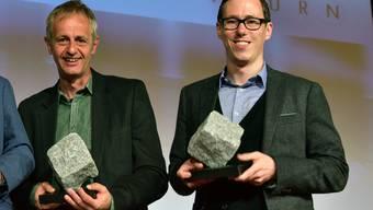 Die Preisträger der Solothurner Zeitung: Fotograf Hanspeter Bärtschi (links) und Redaktor Lucien Fluri.