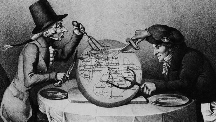 Karikatur der Kantonstrennung der beiden Basel von 1833