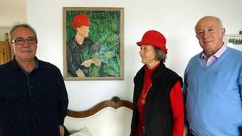 Toni Donadio, Malertochter Ladina Jaecklin-Pedretti und Roy Oppenheim.