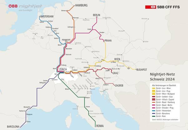 So sieht das Schweizer Nachtzugnetz ab 2024 aus.