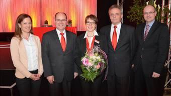 V.l.: Gabriela Grob (neu im VR), Frank Mackuth (BL-Vorsitzender), Pia Wegmüller (Rücktritt aus VR), Peter Dietschi (VR-Präsident), Martin Aeschlimann (neu im VR).