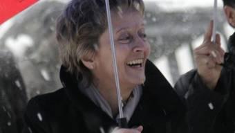 Bundespräsidentin Eveline Widmer-Schlumpf freut sich über den Empfang in Graubünden