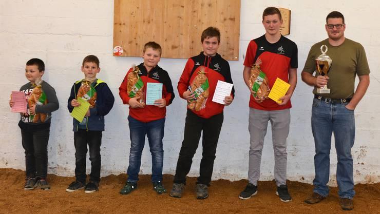 von links nach rechts: Damian Bader, Simon Kropf, Yanik Nussbaumer, Elias Beguelin, Remo Antenen, Marcel Kropf