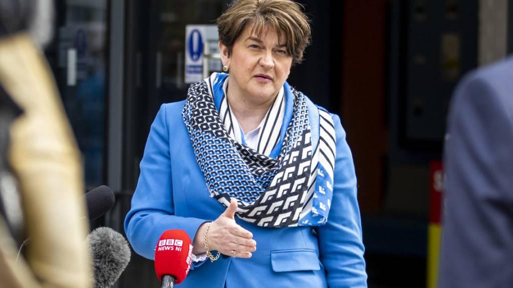 Arlene Foster, Nordirlands Regierungschefin und Parteivorsitzende der Democratic Unionist Party (DUP). Foto: Liam Mcburney/PA Wire/dpa