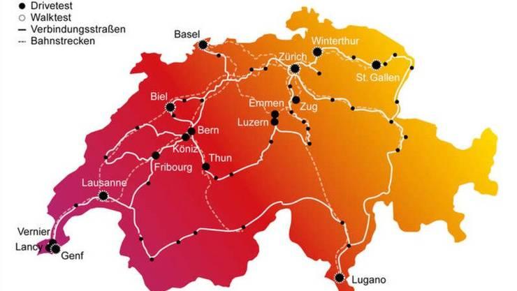 Die Tester waren mit ihren Mess-Smartphones in weiten Teilen der Schweiz unterwegs.
