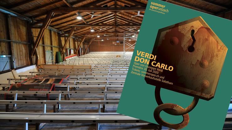 Das Plakat für Verdis «Kirchenoper» im Passionsspielhaus steht schon.