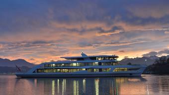 Das neue Motorschiff der Schifffahrtsgesellschaft Vierwaldstädtersee (SGV) stach am Donnerstagabend zur Jungfernfahrt in den See.