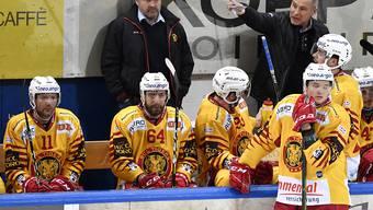 Der Langnauer Trainer Heinz Ehlers (links stehend hinter der Bande) will heute wieder einmal ein Heimspiel mit seinem Team gewinnen. Die SCL Tigers würden dadurch ein Entscheidungsspiel in Lausanne um den Halbfinal-Einzug erzwingen